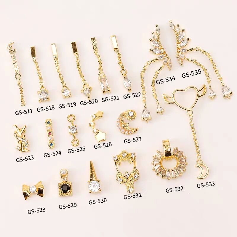 Lo último en decoración de uñas de zirconia de aleación de 5 uds., zirconia de lujo, borla de diamantes de imitación/Corazón/ala, joyas para uñas de nivel superior, abalorios largos para uñas