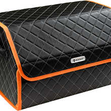 Organizer bag in the car trunk of eco-leather black with gray thread vicecar (orange edging) with Renault logo