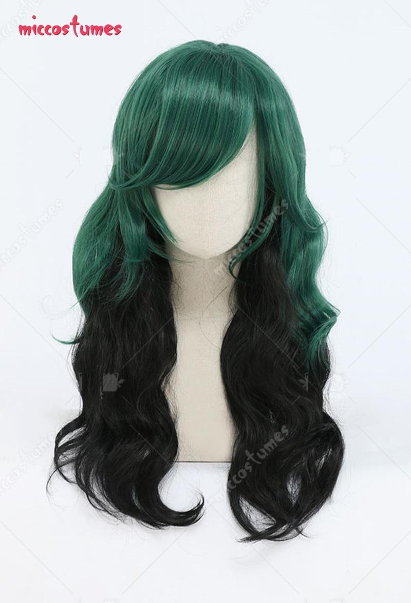 My Hero Academia Izuku Midoriya Deku Female Black and Green Long Curly Cosplay Wig