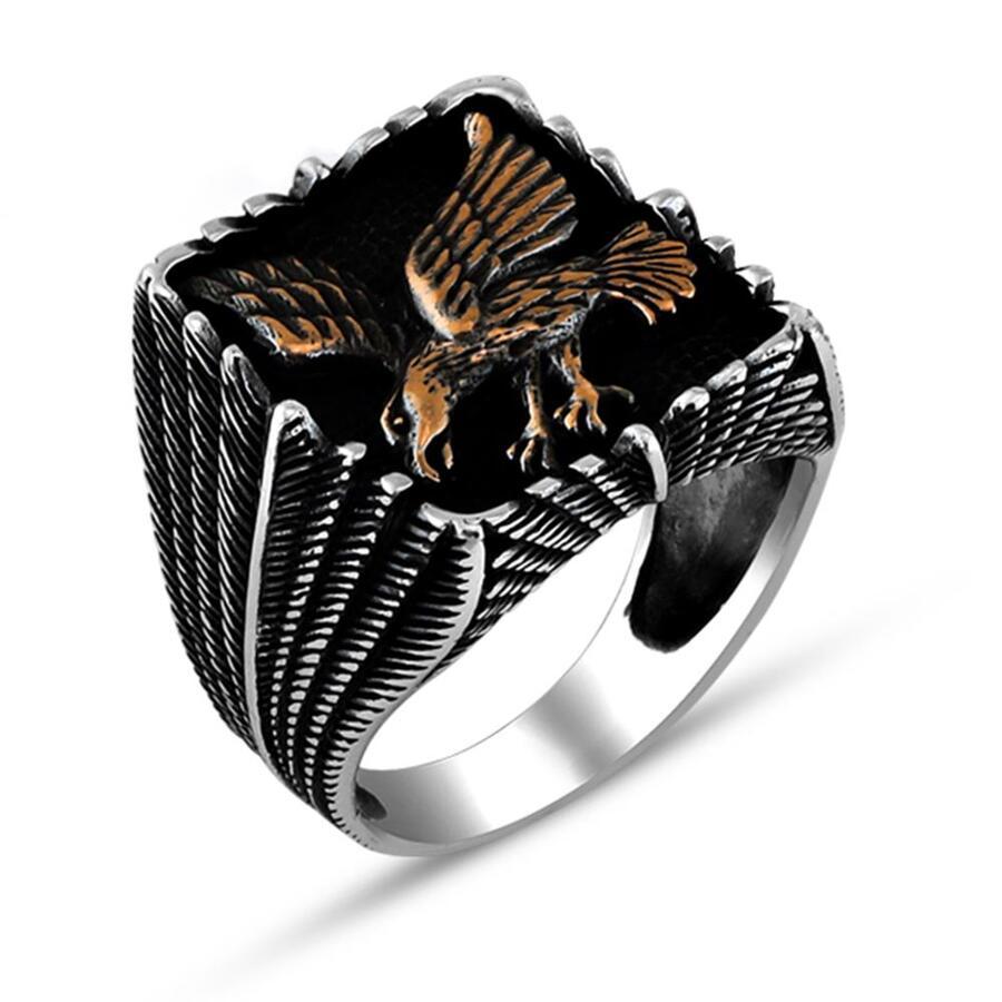 خاتم رجالي من الفضة الإسترليني بتصميم الصقر ، خاتم رجالي مصنوع يدويًا بتصميم حيوان ، صنع في تركيا ، 925 فضة استرلينية