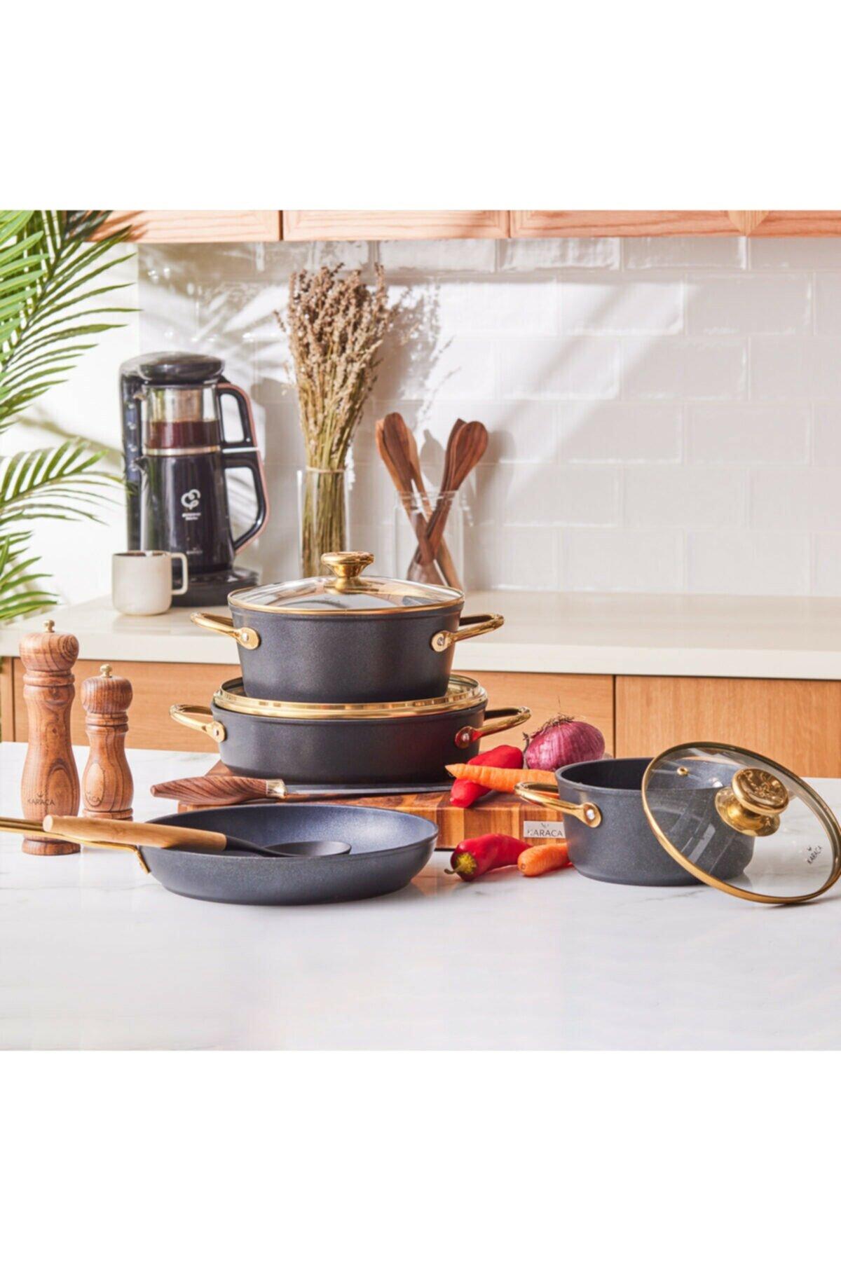 بيو دايموند باور 7 قطعة تجهيزات المطابخ الذهبية 2021 مجموعة أواني الطهي والمقالي طقم حلل استانلس ستيل غير لاصقة جميع المواقد بما في ذلك الحث