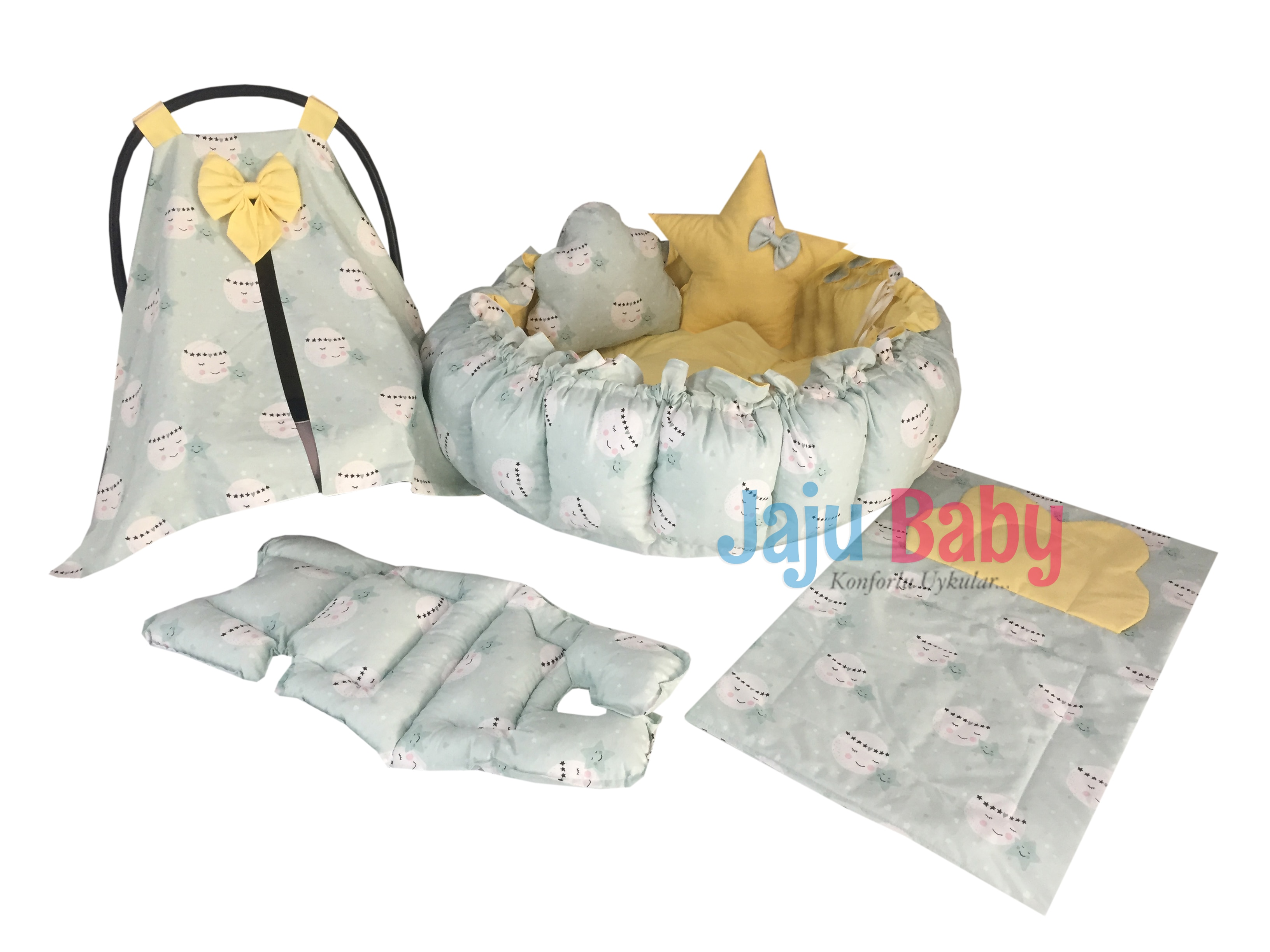 Jaju Baby Green Full Moon Pattern Set Design Luxury Play Mat Babynest, Maternal Baby Bed, Retractable Play Mat