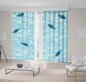 Curtain Ocean Waves and Fish Silhouettes Sea Wild Nature Theme Doodle Style Art Blue White