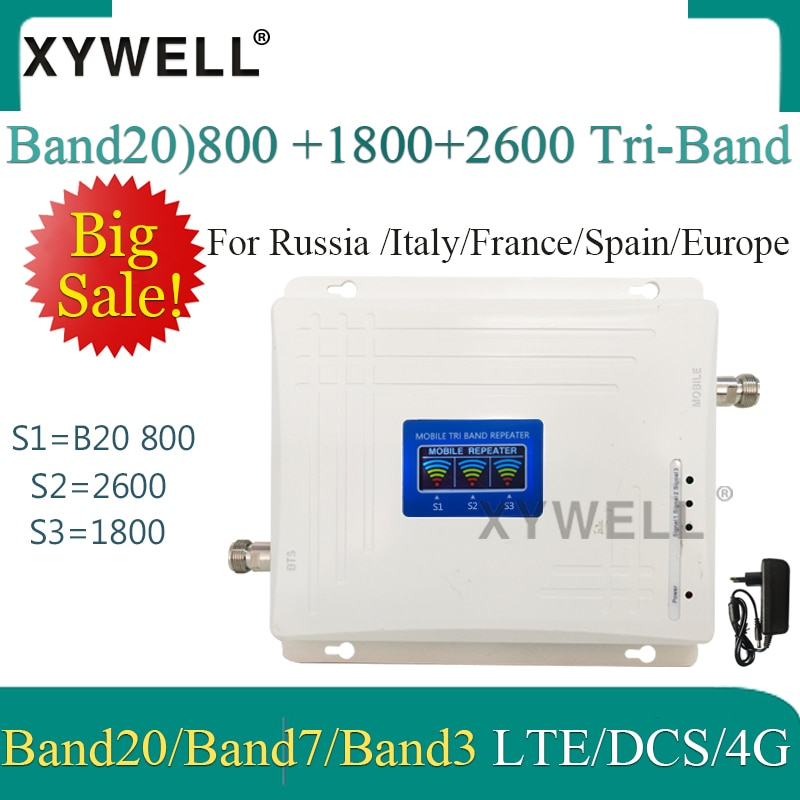 1 Uds LTE B20 800 1800 2600Mhz amplificador de señal móvil tribanda 4G amplificador de teléfono celular 2G 4G repetidor celular LTE DCS 4G Booster