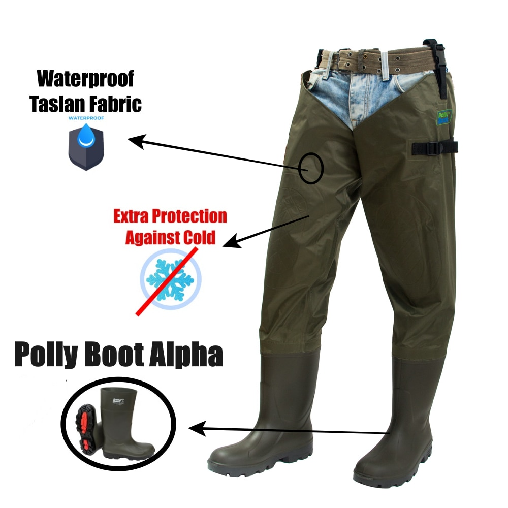 Fly Fishing Thigh Waders Breathable Waterproof Cold Resistant Included Fisherman Boot River Wader Pants for Men and Women