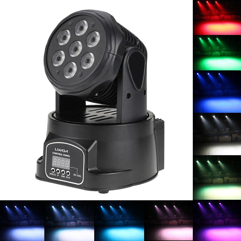 Mostrar Disco lámpara AC100-240V 70W 9/14 canales DMX-512 Disco lámpara de luz con cabezal móvil 4 en 1 RGBW LED luz de la etapa de iluminación estroboscópica
