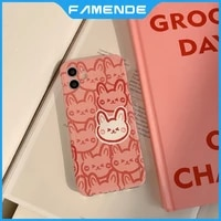 cute painted rabbit phone case for iphone 11 12 pro max mini xr x xs max 7 8 plus full lens protection shockproof case cover