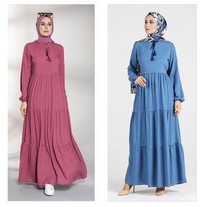 Elastic Sleeve Gathered Women Dress Muslim Hijab Fashion Casual Casual Loose Long Sleeve Stylish Elegant Ladies Style Zero Colla