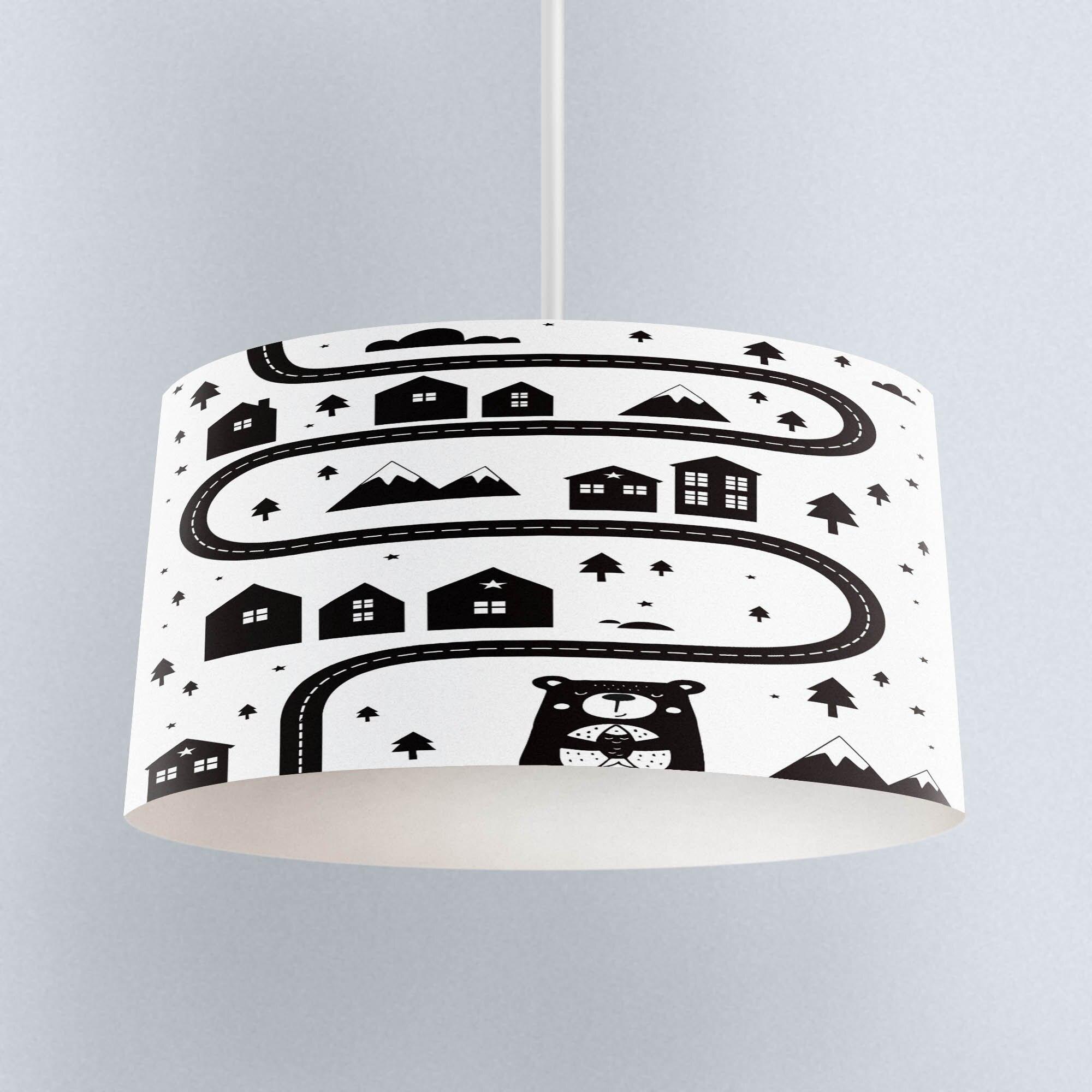 Else juego de carretera blanco negro tela de impresión escandinava lámpara de araña para niños Pantalla de tambor piso techo colgante sombra de luz
