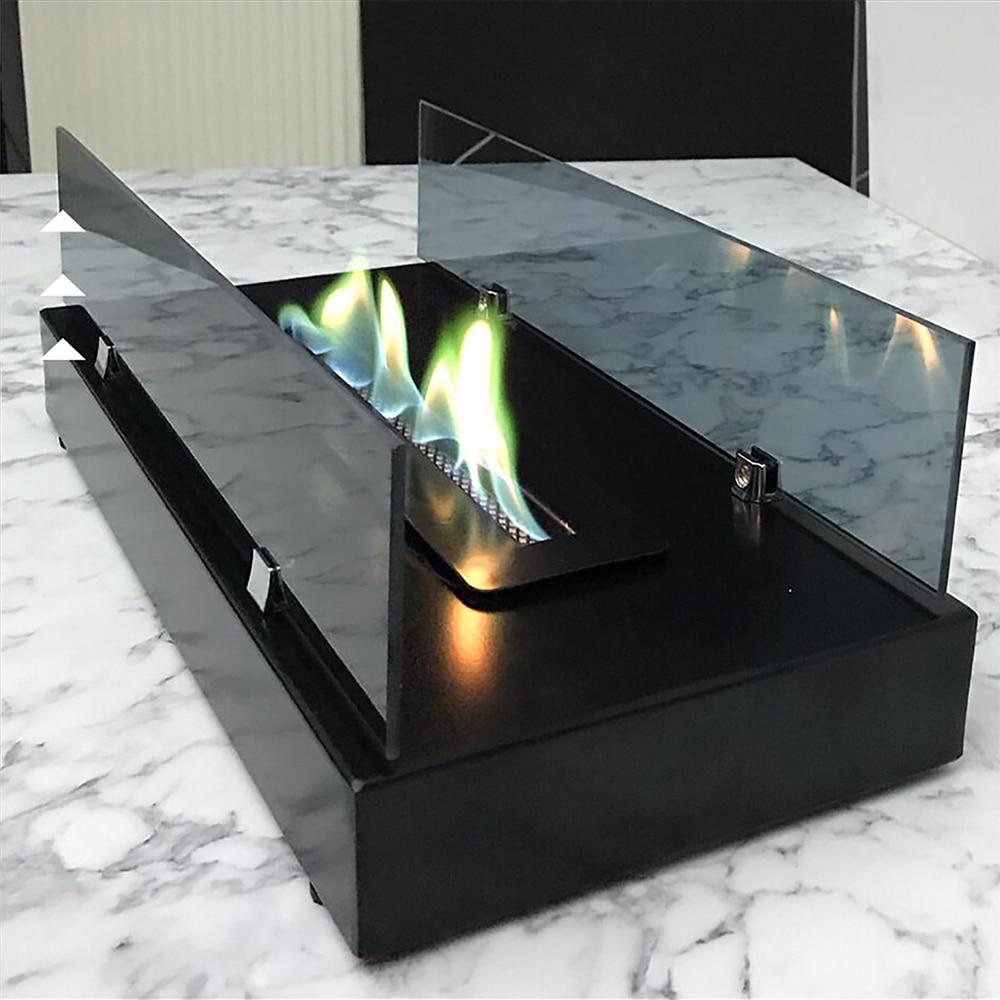 Waaw C1002 مدفأة للديكور الحيوي الإيثانول الشمال نمط Chimneyless دخاني مات الأسود ديكور المنزل. صنع في تركيا 50x25x18سم