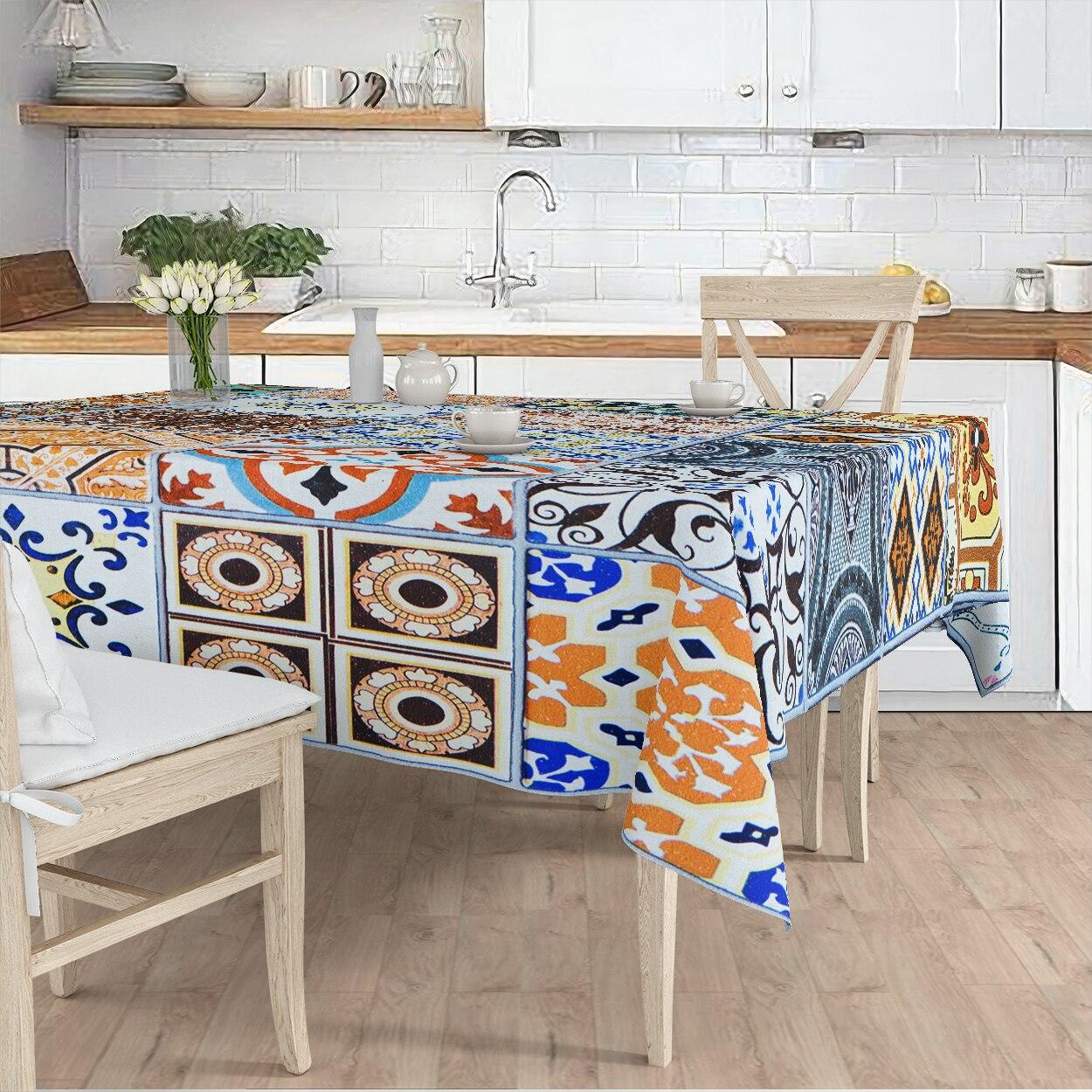مفرش المائدة غرفة المعيشة المطبخ الملونة العرقية نمط هندسي مايكرو غطاء من القماش عداء نمط شحن مجاني