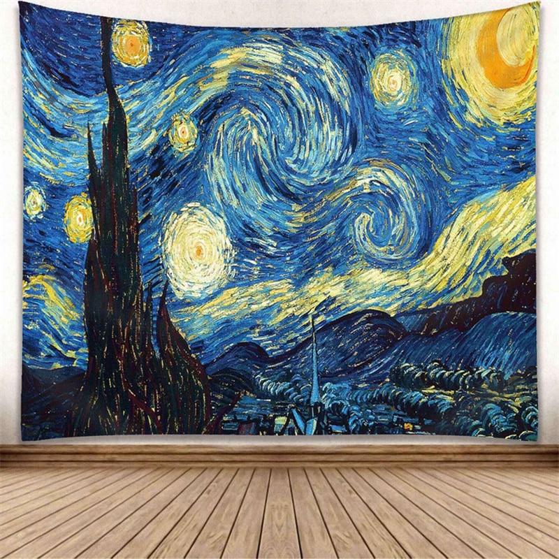 Star Moon Van Gogh Painting Printed Wall Tapestry Curtain Boho Home Decor Bedroom Macrame Blanket Travel Picnic Mat 130x150cm