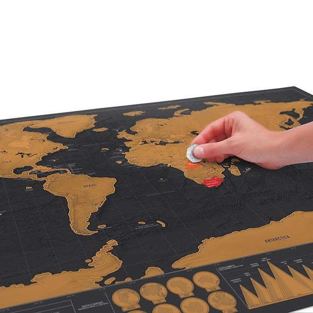 Deluxe Erase Black World Map Scratch World Wall Sticker Personalized Travel Scratch Poster Foil Layer Coating Edition Journal