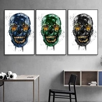 graffiti abstract skull luxury canvas painting workart skeleton posters prints home decor cuadros wall art pictures for room