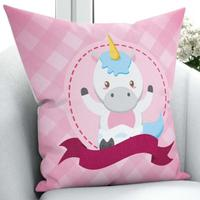 Else Pink Funnt Cute Little Horses 3D Print Microfiber Throw Pillow Case Cushion Covers Square Hidden Zipper 45x45cm