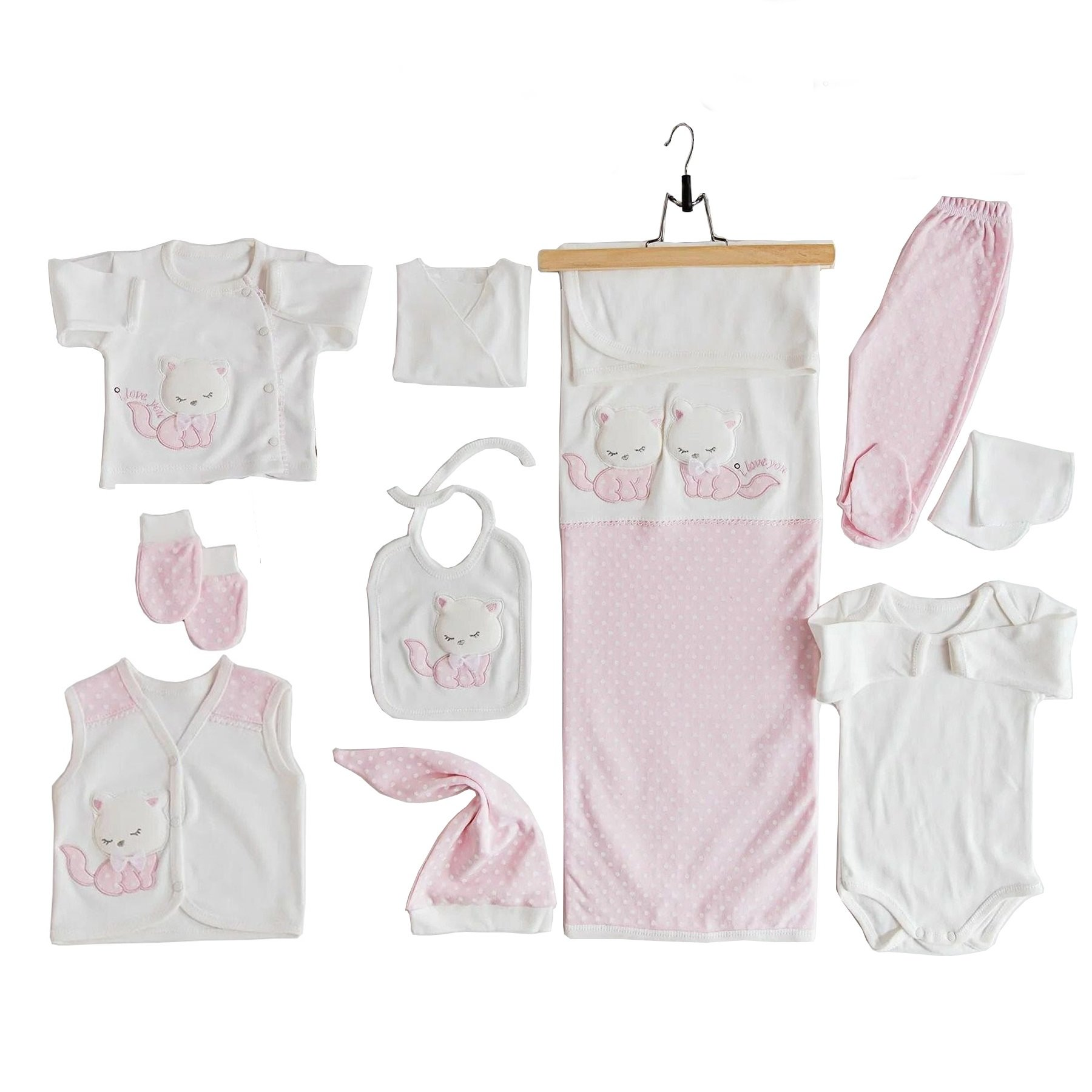 Baby Boys Girls Costume sets Suits Cotton Long Sleeve Cat Embroidered 10 Piece Pink Hospital Visit Set Infant Clothing Autumn Newborn