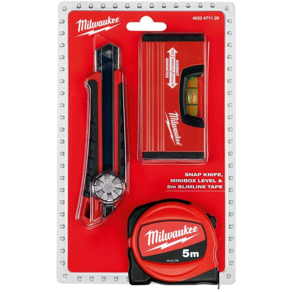 Milwaukee T4932471129 Heavy Duty 3'lü Set Utility knife, Measure and Spirit level