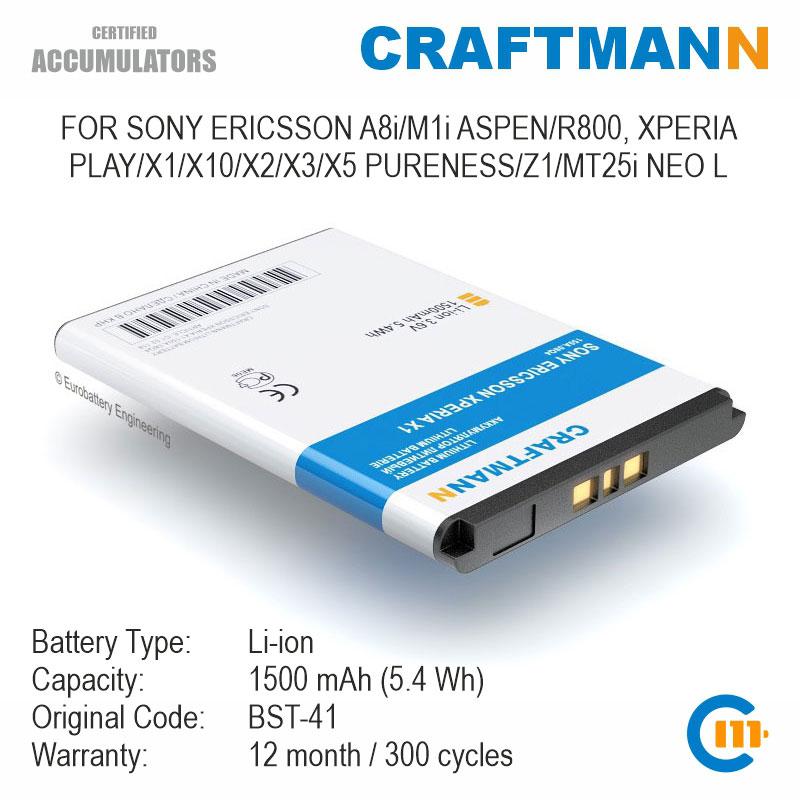Batería para SONY ERICSSON A8i/M1i ASPEN/R800 XPERIA PLAY/X1/X10/X2/X3/X5 PURENESS/Z1/MT25i NEO L (BST-41)
