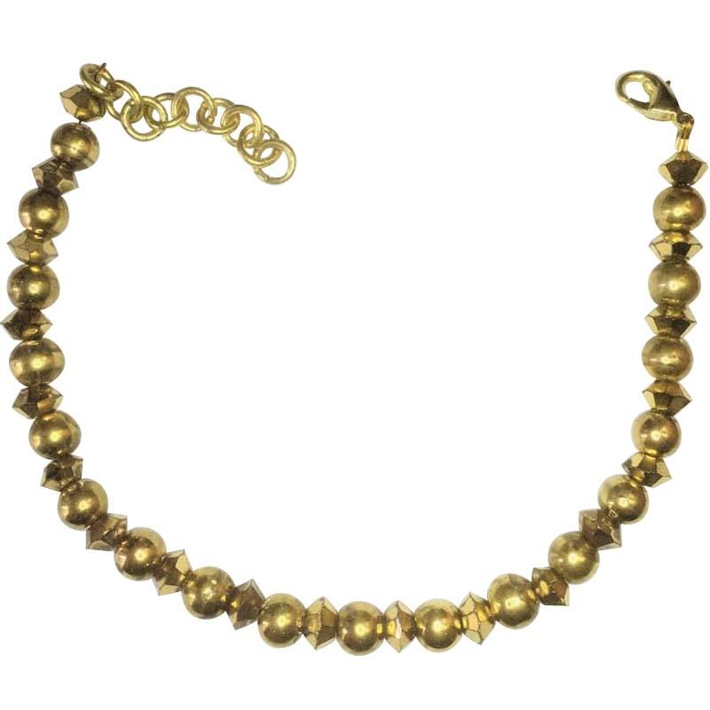 Bracelet 24k Gold-Painted Glass Beaded Handmade Woman Fashion Jewelry Made In Turkey