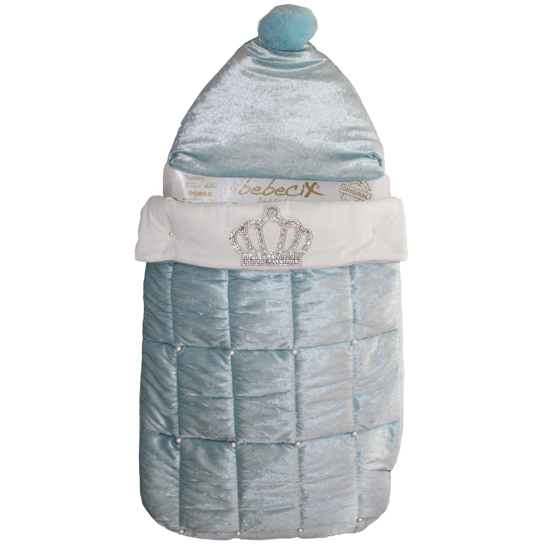 Newborn Cotton Baby Receiving Blanket Blue Crowned and Pearl Baby Boy Swaddle Cartoon Cute Infant Sleeping Bag Kids Blanket