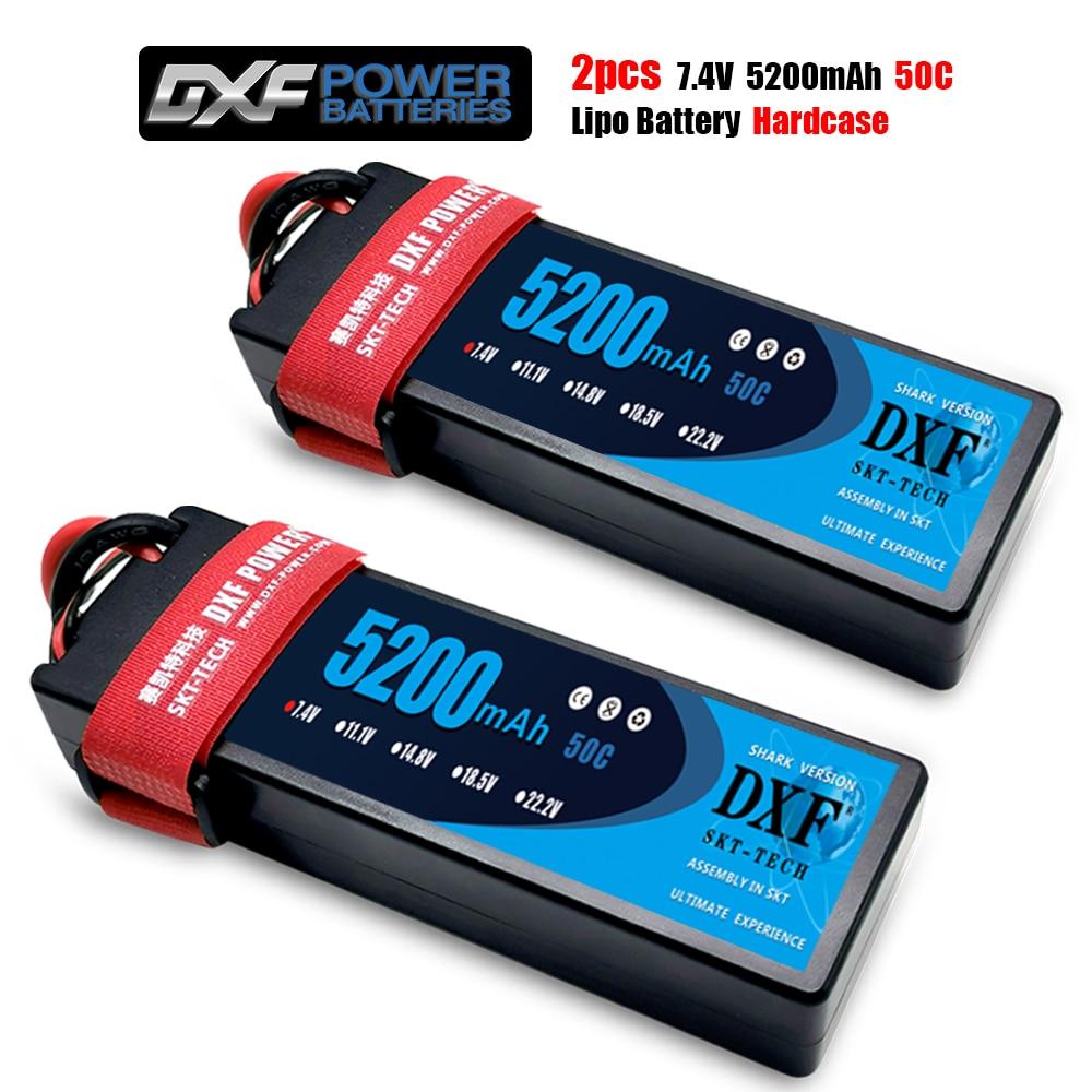 2PCS DXF Battery Lipo 2S 7.4V 5200mAh 6400mAh 6500mAh 7000mAh 7500mAh 8400mAh 50C 60C 120C 100C 200C 140C 280C for RC 1/10  Car enlarge