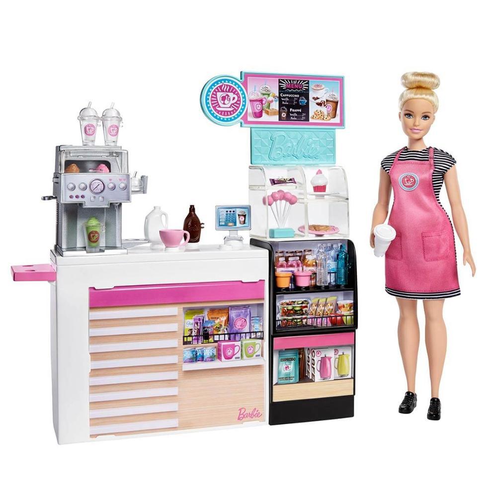 Nuevo Original Barbie®Tienda de café con 12/30,40 niñas, regalo, muñeca bebé, juguetes...