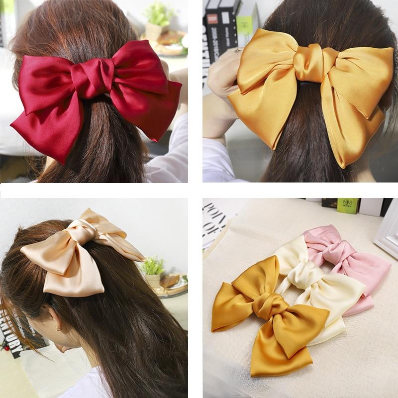 HOT Sale  Word Clip Hair Accessories Women Fashion Big Bow Simple Elegant Fabric Satin