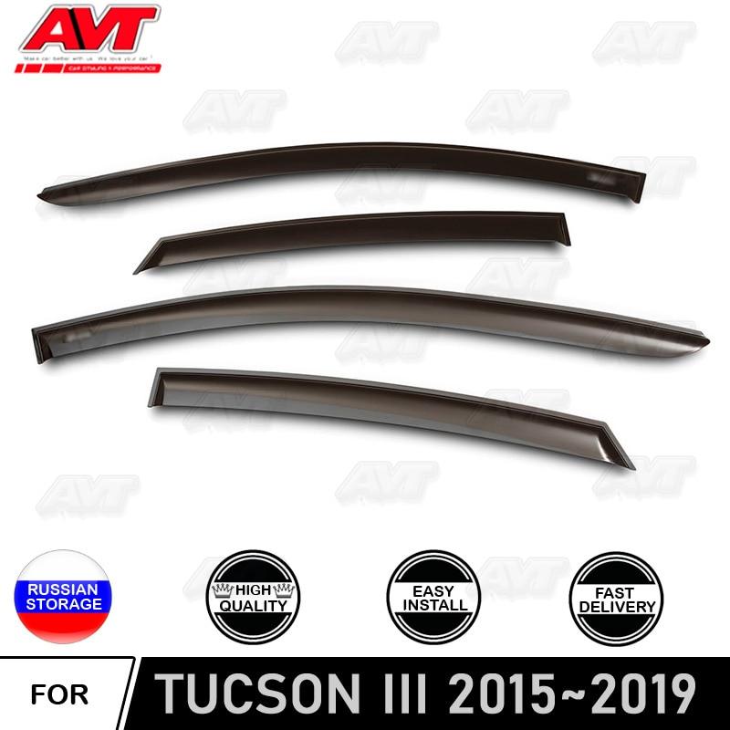 Owiewki do samochodu Hyundai Tucson 2015 ~ 2019 car styling deflektor wiatrowy straż osłona przeciwdeszczowa osłona auto vent decor