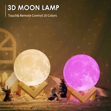 Moon Light LED Night Light 3D Printing Rechargeable Color Changing Light Touch Moon ight Children's