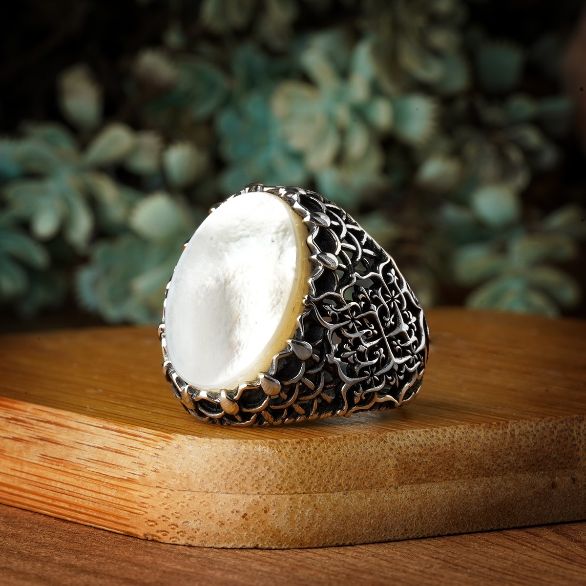 Guaranteed High-quality 925 Sterling Silver PEARL STONE ring Jewelry Made in Turkey in a luxurious way for men with gift