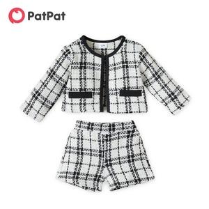 PatPat 2pcs Plaid Print Round Neck  Long-sleeve White Baby Set