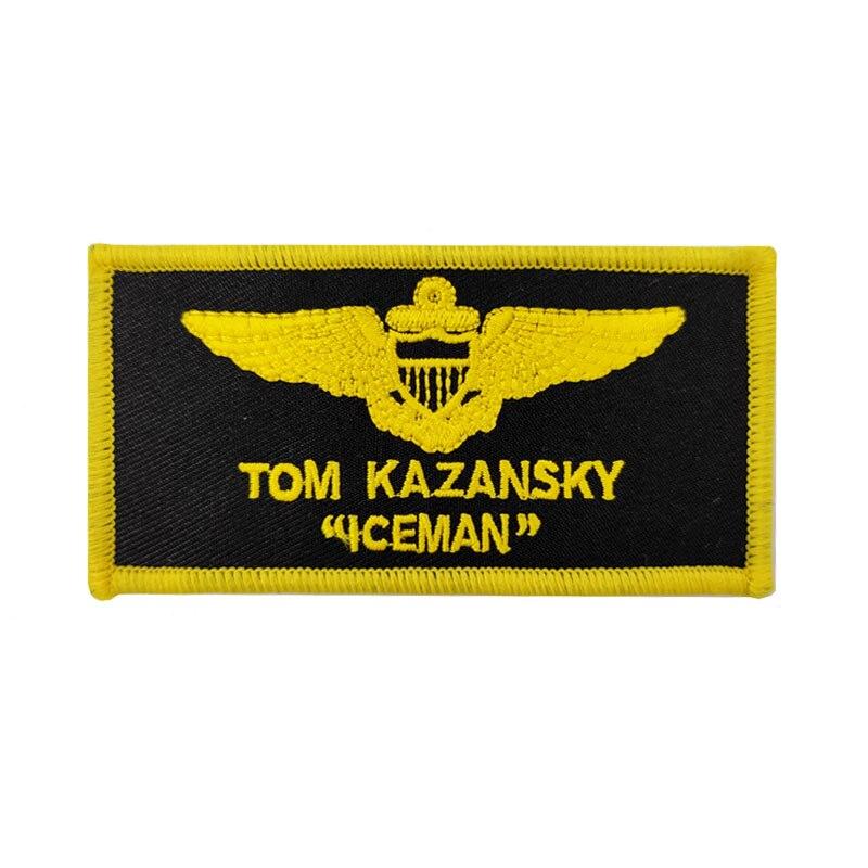 """4 """"Top Gun TOM KAZANSKY ICEMAN nombre parches para ropa disfraz cosplay película TV bordado hierro en accesorios de bordado"""