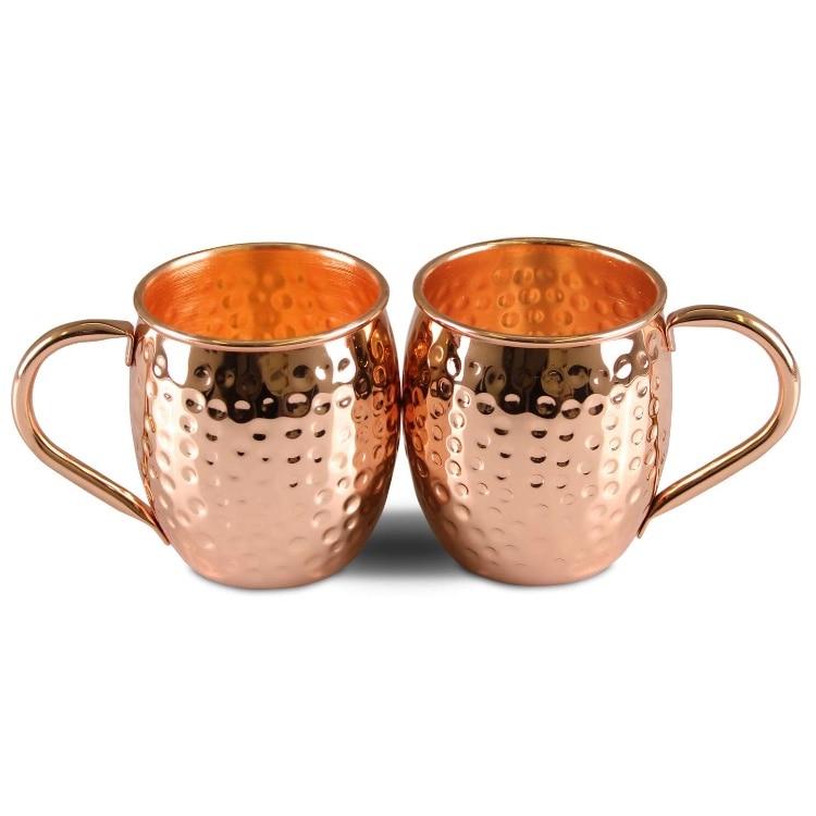 2 uds mula de Moscú tazas de cobre 100% artesanal 100% puro tazas de cobre taza barril mulas Moscú Hecho en Turquía