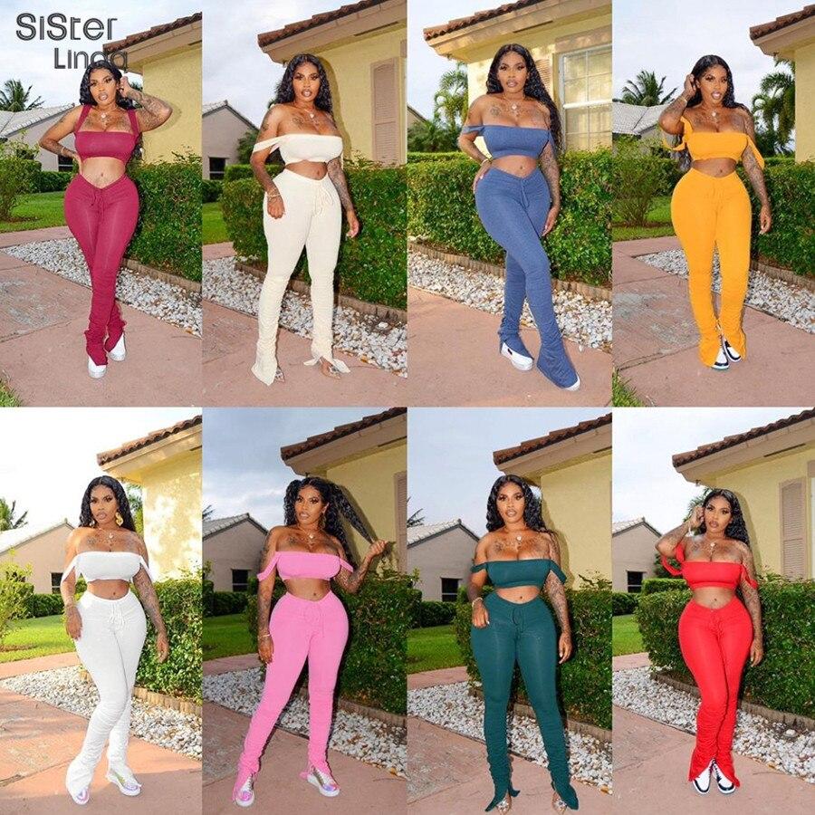 Camiseta de tirantes 2020 con cuello oblicuo, pantalón apilado para mujer, conjunto de 2 piezas para entrenamiento de verano, chándal femenino, vestimenta informal