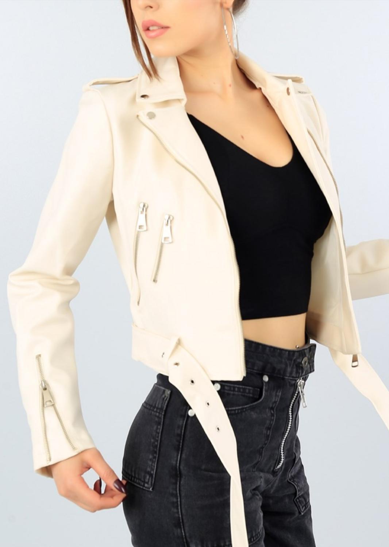 Women, Winter, Autumn, Spring., Office, Gift, Casual, Crem Belt Lined Ladies Faux Leather Jacket, Stylish, Fashion, Mdmz-40952 enlarge