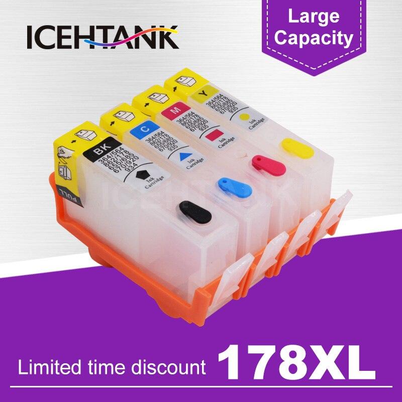 ICEHTANK recarga cartucho de tinta para HP 178 XL para HP Photosmart 5514, 5515, 5520, 5521, 6510, 6512, 6515, 6520, 6521 impresora 7515
