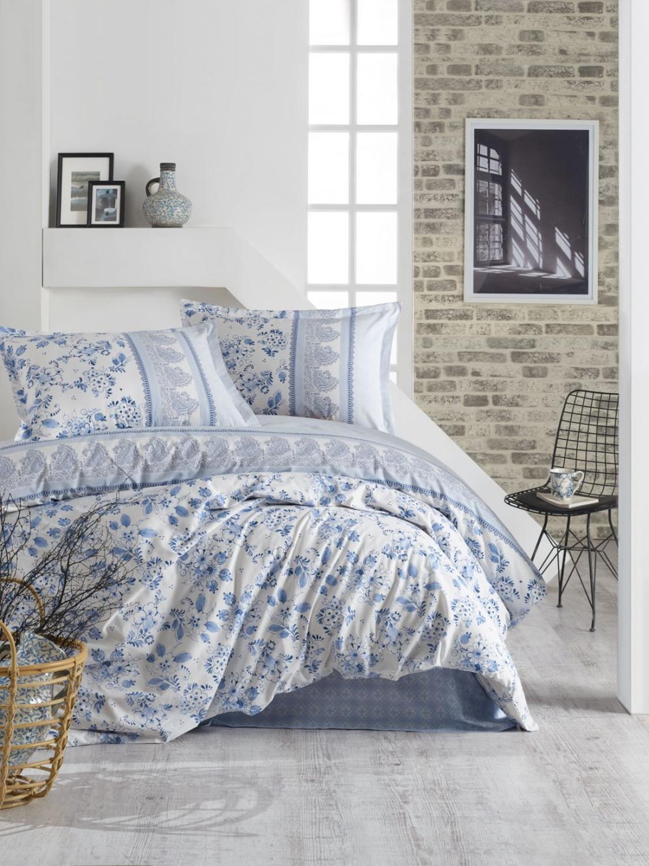 Funda de cama Budva, funda nórdica para cama doble azul, conjunto de ropa de cama 100 algodón de calidad, juego de cama Lux moderna y romántica, funda nórdica de 2 piezas