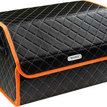 Organizer bag in the car trunk of eco-leather black with gray thread vicecar (orange edging) with logo mini