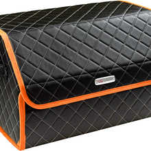 Organizer bag in the car trunk of eco-leather black with gray thread vicecar (orange edging) with Chery logo