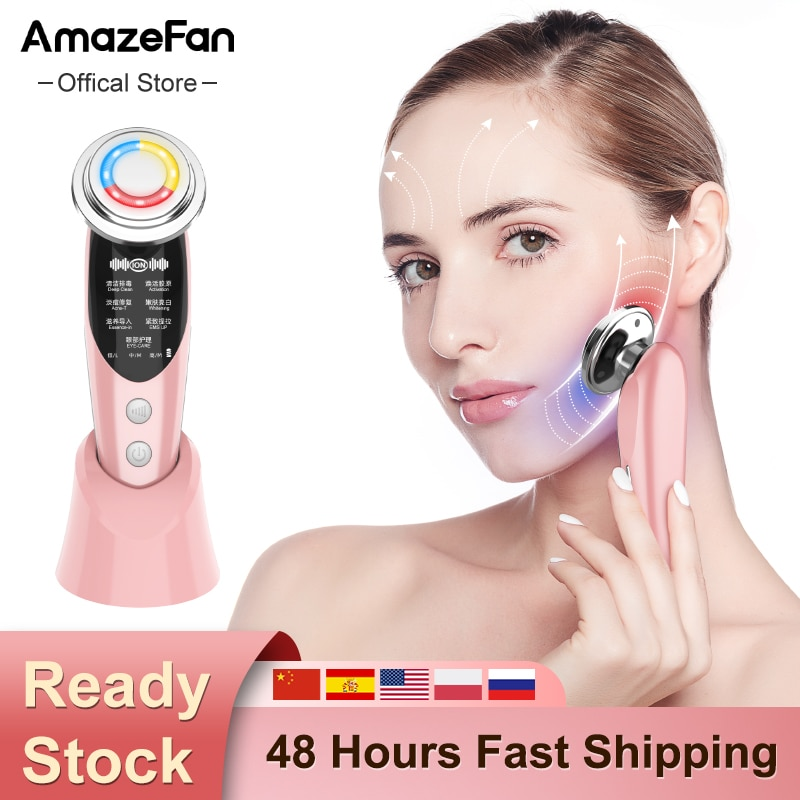AmazeFan 7in1 Face Massager RF EMS Mesotherapy Electroporation lifting Beauty Device LED Skin Rejuvenation Remover Wrinkle