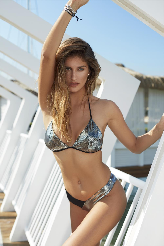 Miyuki Sadie Silver Color Metallic 2 Pieces Triangle Bikini Set 2021 New Fashion Swimwear Very Sexy Quality Swimsuit