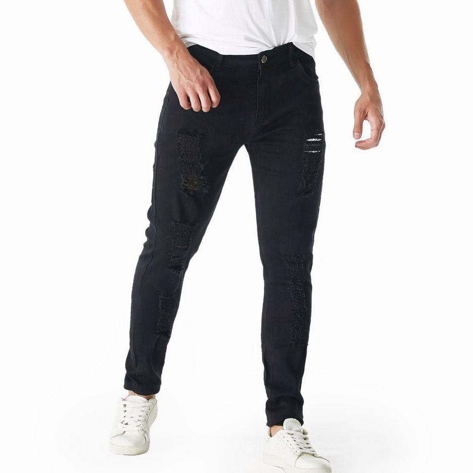 Мужские изношенные джинсы ретро-крой стрейч суженные рваные джинсы повседневные прямые потертые брюки Черные джинсы скинни
