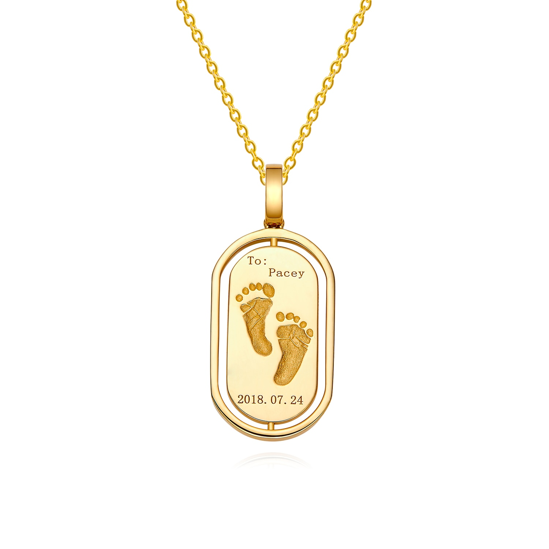 18K Gold Baby Custom Made Oval Handprints Footprint Necklace