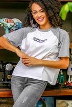 Casual Raglan gray melange sleeve slogan printed tshirt
