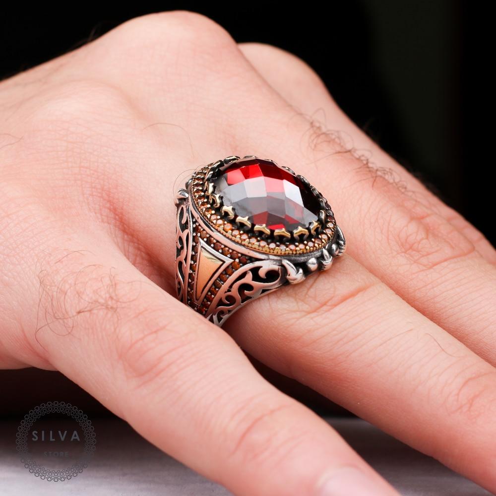 خاتم رجالي من الفضة الإسترليني الأصلية عيار 925 مرصع بحجر الزركون الأحمر. متوفر مجوهرات رجالي جميع المقاسات