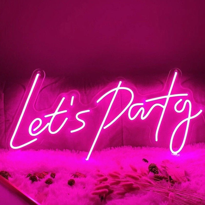 Let's Party Neon Sign Party Decor Custom Neon Sign Fex LED Neon Light Sign Bar Decor Event Decor Home Decor Wall Hanging Decor