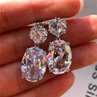 high quality big zircon shiny earrings for women elegant blue red silver color womens drop earring female wedding jewelry gift