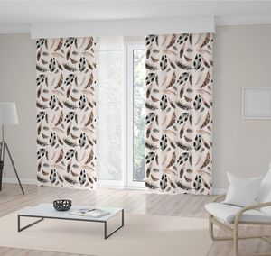 Curtain Bird Feathers in Brown and Black Colors Watercolor Simple Modern Rustic Nature Themed Artwork Printed