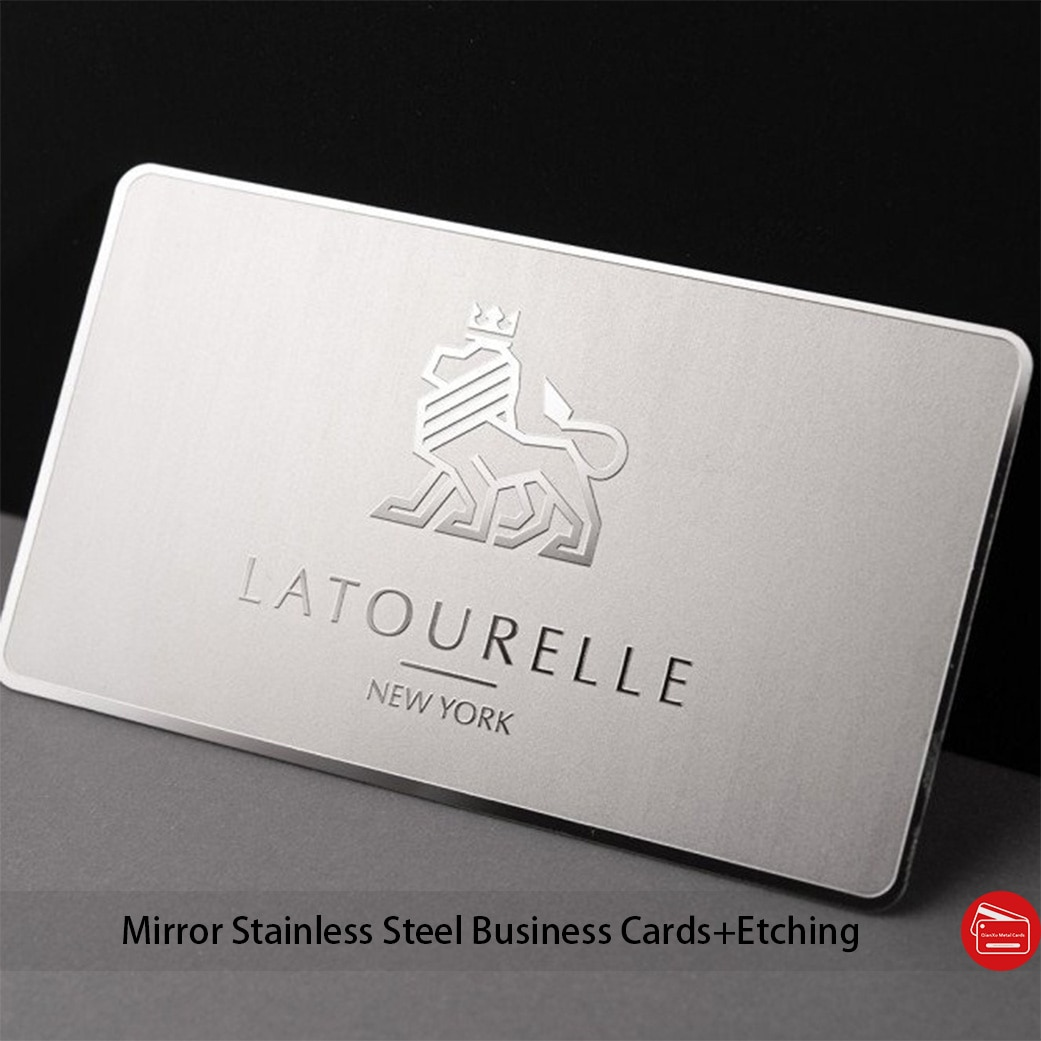 100pcs/lot Polished mirror metal business cards (thickness 0.3mm/0.5mm/0.8mm etc)