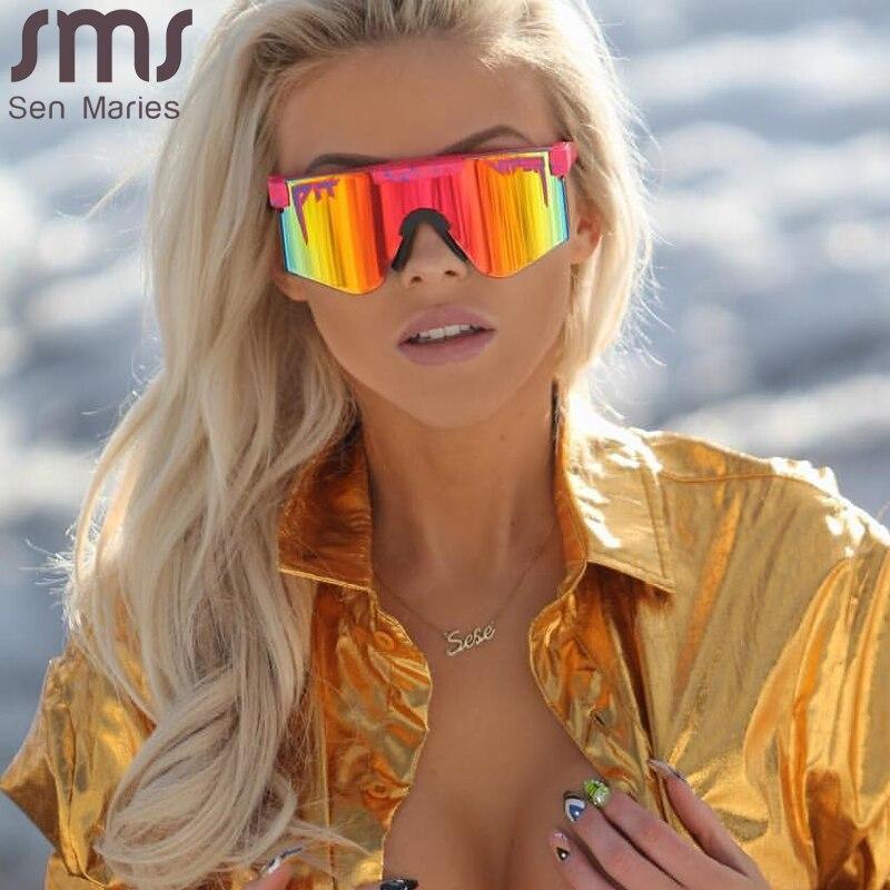 Солнцезащитные очки с плоским верхом UV400 для мужчин и женщин, ветрозащитные спортивные очки без поляризованных линз с синей оправой, 2021 | Аксессуары для одежды | АлиЭкспресс